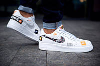 Мужские кроссовки в стиле NIKE Air Force 1 Low Just Do It, кожа, белые, фото 1