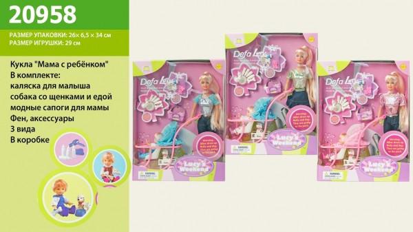 Кукла с дочкой Defa Lucy 20958, в наборе коляска и другие аксессуары, аналог Барби