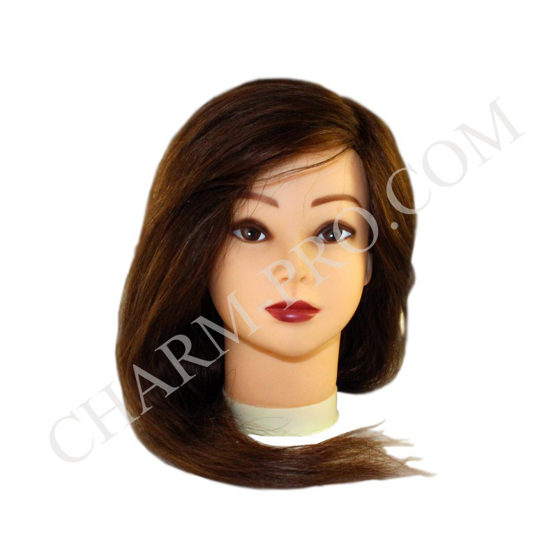 Голова тренувальна для моделювання зачісок. Натуральна. Шатен