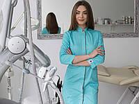 Медицинский халат Сакура мятный-серый, фото 1