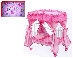 Кроватка для кукол (9350/015) с балдахином и колесиками, металлический каркас, размер кроватки 60х29х56 см