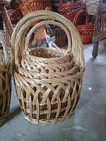 Плетеный набор корзин из лозы Круглые 4 шт