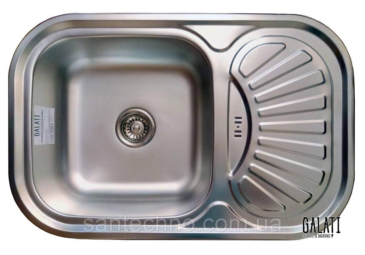 Кухонні прямокутна мийка із нержавіючої сталі з крилом Galati Stela Tekstura