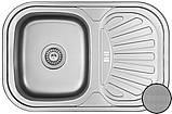 Кухонні прямокутна мийка із нержавіючої сталі з крилом Galati Stela Tekstura, фото 2