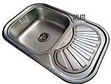 Кухонні прямокутна мийка із нержавіючої сталі з крилом Galati Stela Tekstura, фото 4