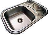 Кухонні прямокутна мийка із нержавіючої сталі з крилом Galati Stela Tekstura, фото 6