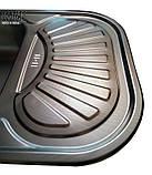 Кухонні прямокутна мийка із нержавіючої сталі з крилом Galati Stela Tekstura, фото 7