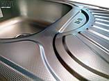 Кухонні прямокутна мийка із нержавіючої сталі з крилом Galati Stela Tekstura, фото 9
