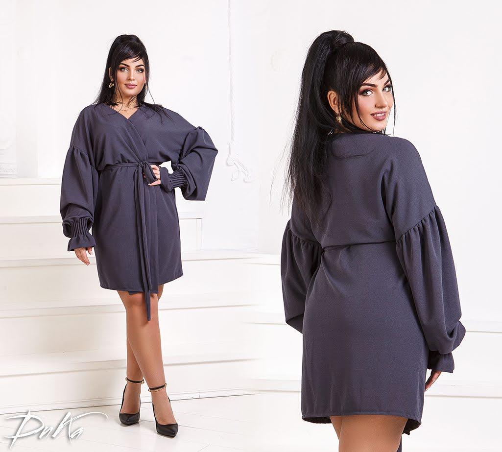 Батальное однотонное платье с поясом