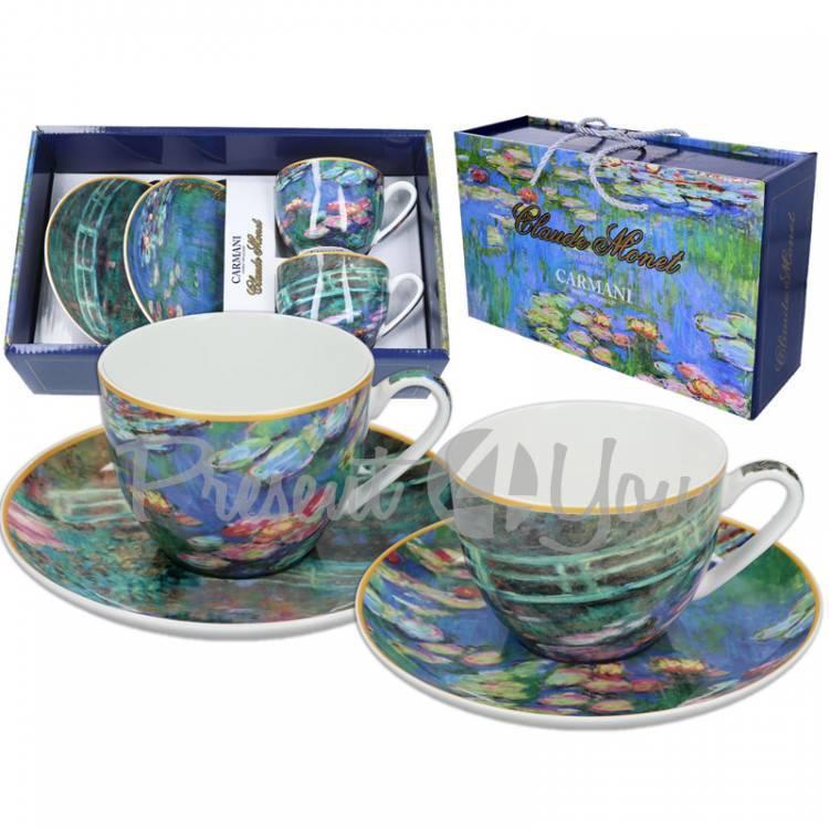 Набор 2 чашки c блюдцами Клод Моне «Водяные лилии» + «Мост» Carmani, 250 мл., d-15 cм (832-2004)