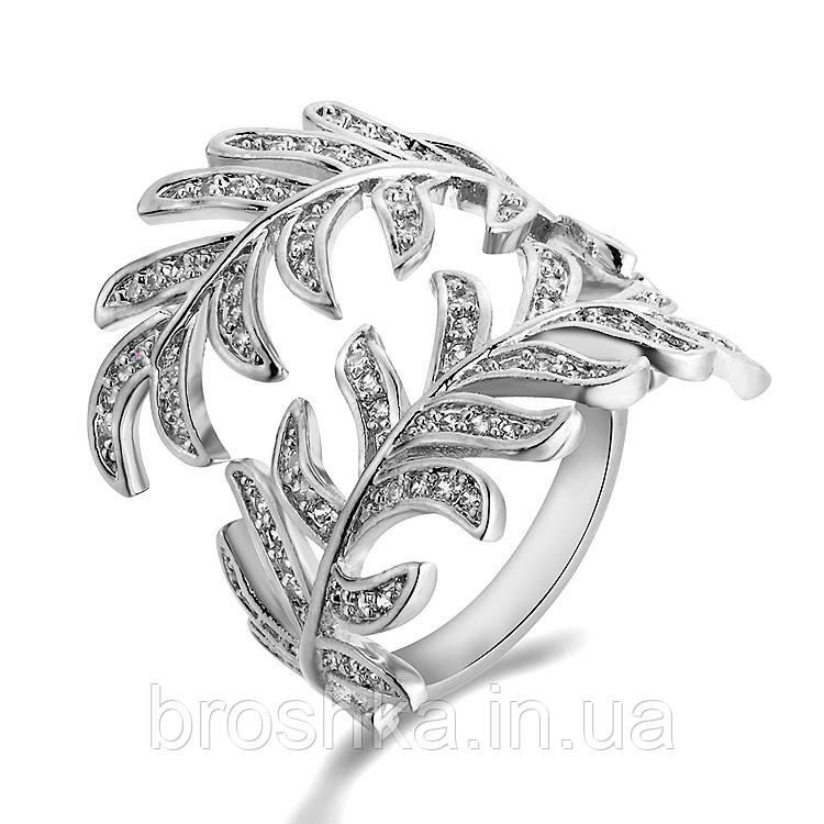 Массивное кольцо перо ювелирная бижутерия в белом покрытии