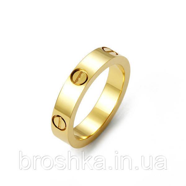 Тонкое кольцо Cartier Love в лимонной позолоте без камней