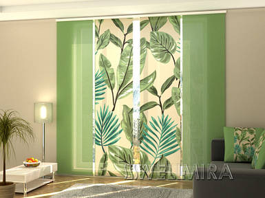 """Панельная фото штора """"Зеленые цветы"""" 240 х 240 см"""