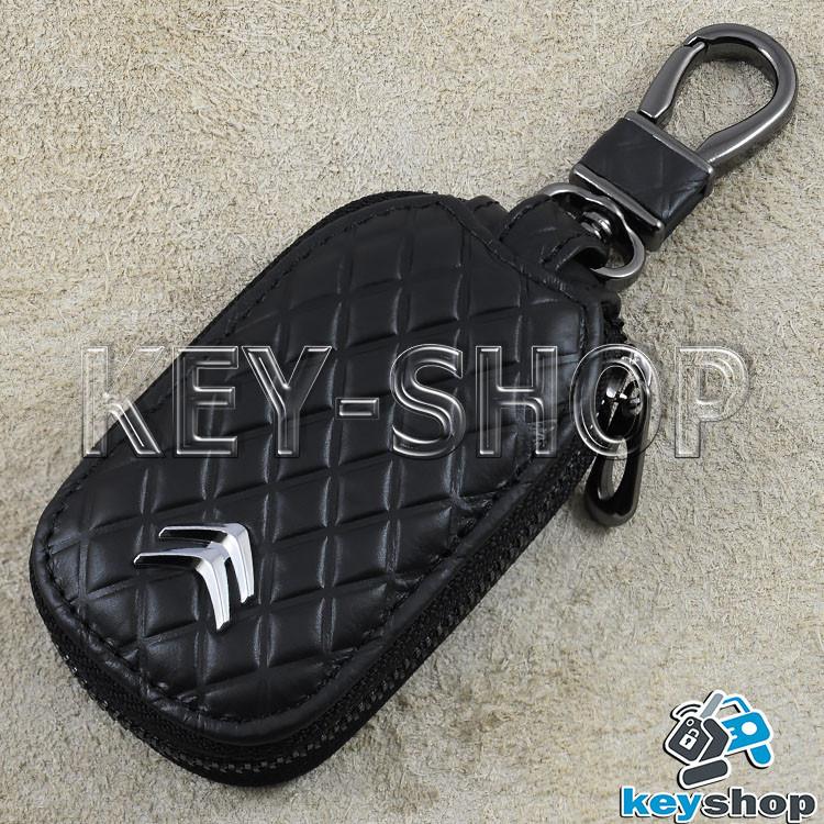 Ключница карманная (кожаная, черная, с тиснением, на молнии, с карабином), логотип авто Citroen (Ситроен)
