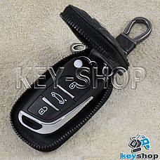Ключница карманная (кожаная, черная, с тиснением, на молнии, с карабином), логотип авто Citroen (Ситроен), фото 2