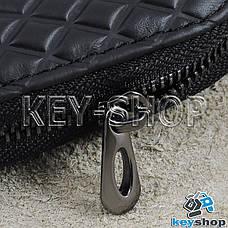 Ключница карманная (кожаная, черная, с тиснением, на молнии, с карабином), логотип авто Citroen (Ситроен), фото 3