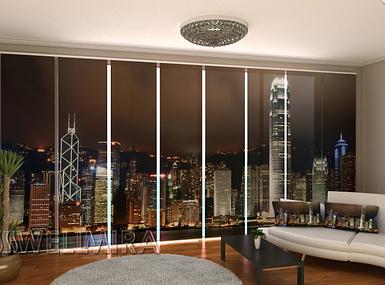 """Панельная фото штора """"Гонконг горизонт"""" 480 х 240 см"""