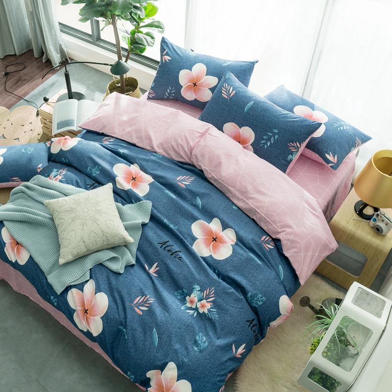 Синий комплект постельного белья Гавайский Цветок (двуспальный-евро)