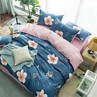 Синий комплект постельного белья Гавайский Цветок (двуспальный-евро), фото 1