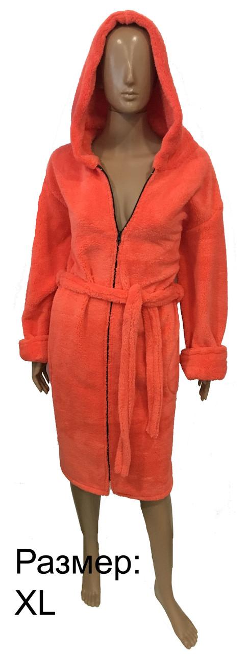 Женский махровый халат - персик