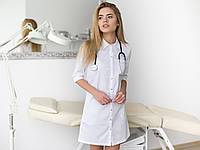 Медицинский женский халат Манхэттэн белый-розовый, фото 1