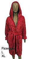 Женский махровый халат на молнии - красный