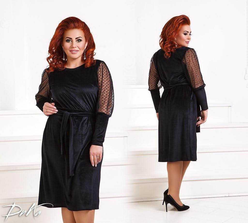 26a4be1af18e550 Бархатное платье с сеткой на рукавах - All You Need - прямой поставщик  женской одежды оптом
