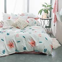 Белый комплект постельного белья Тропический Цветок (полуторный) , фото 1