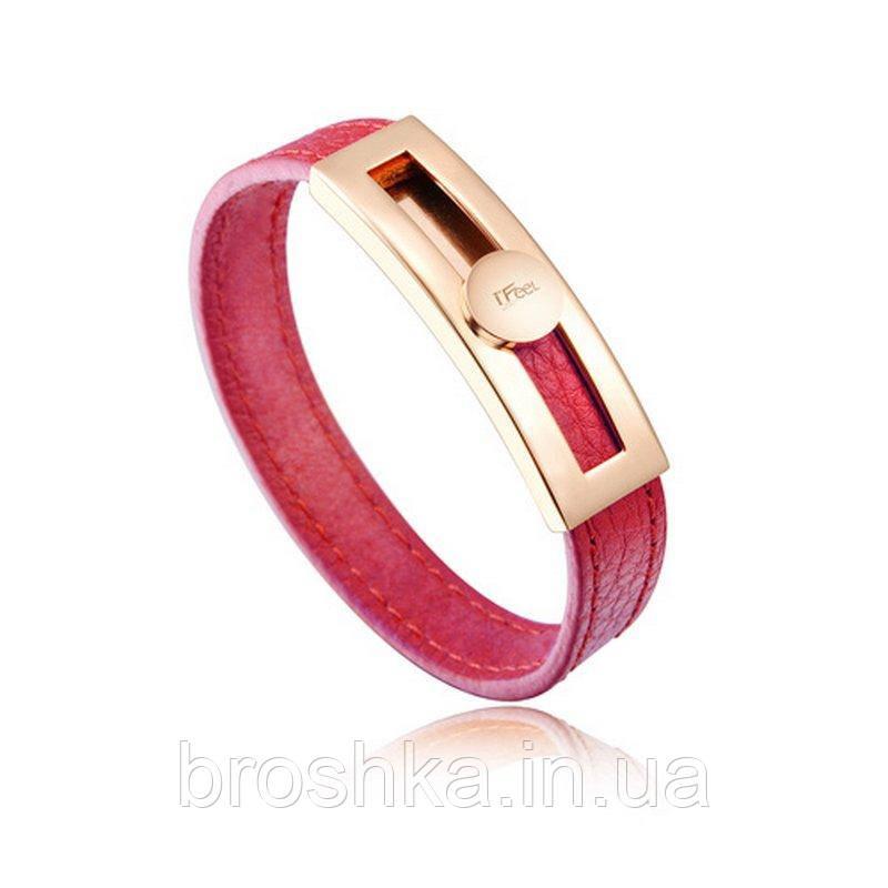 Розовый узкий кожаный браслет ювелирная бижутерия