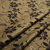 Ткань гобелен Цветы коричневый 150 см (671541)