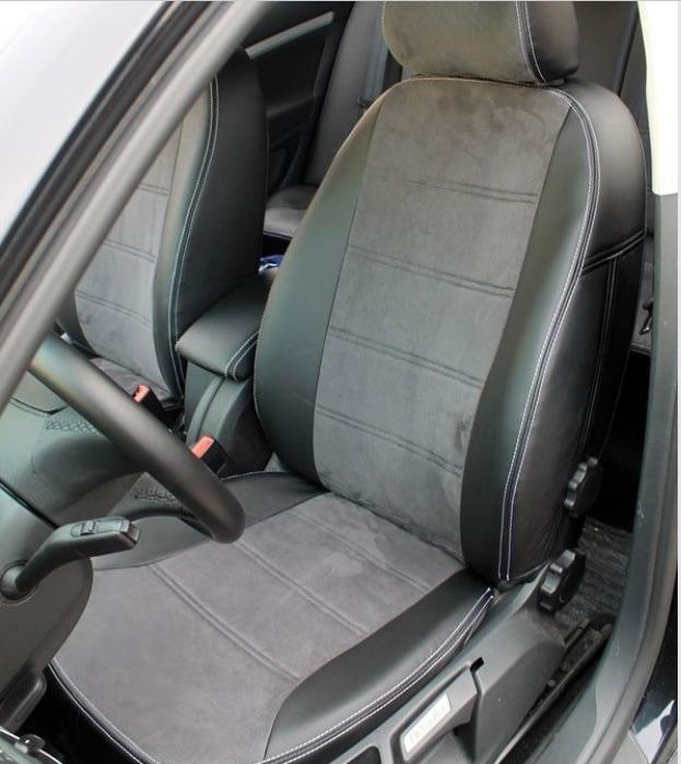 Чехлы на сиденья БМВ Е46 (BMW E46) (модельные, экокожа Аригон+Алькантара, отдельный подголовник)