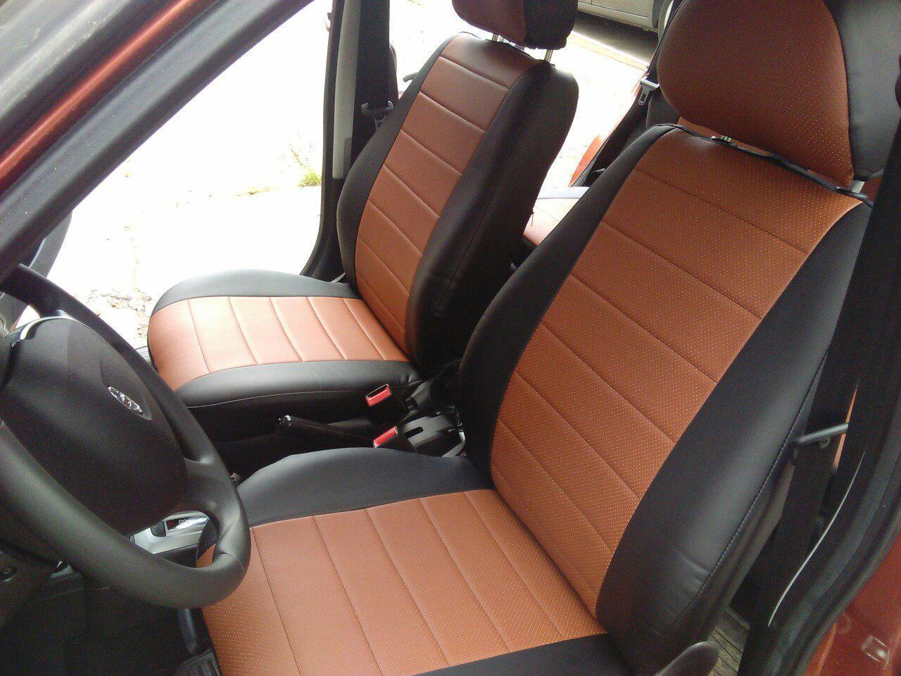 Чехлы на сиденья БМВ Е60 (BMW E60) (универсальные, экокожа, отдельный подголовник)