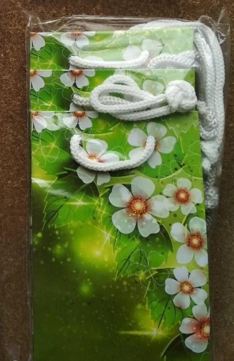 Подарочный бумажный пакет МИНИ  ''Белые цветы'' 8*12*3.5 см