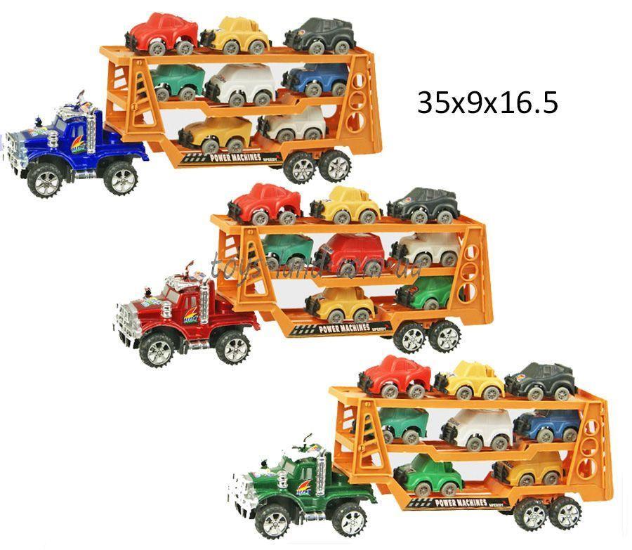 Трейлер инерц 3018 (48шт/2) 2 вида, с 8-ю машинками, под слюдой 35*9*16,5см