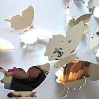3D зеркальные бабочки для декора-12 шт. Наклейки-бабочки на стену хром.