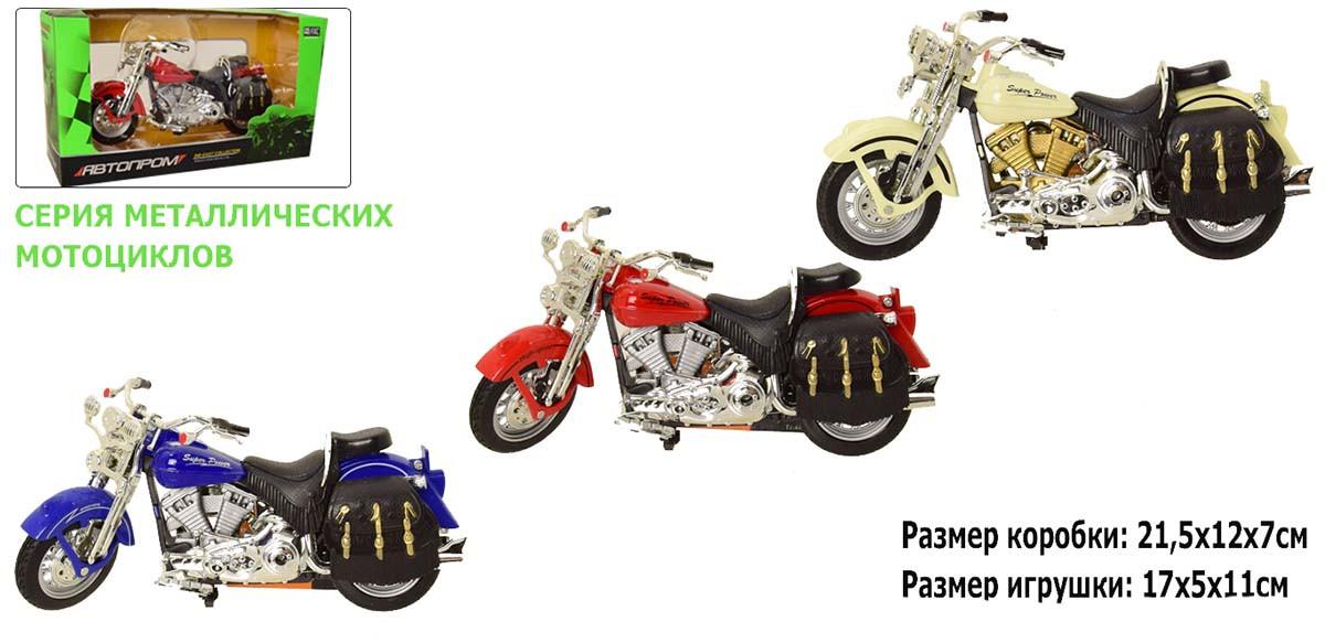"""Мотоцикл метал-пластик.инерц 7749 (72шт/3) """"Автопром"""" в коробці 21,5*12*7см"""