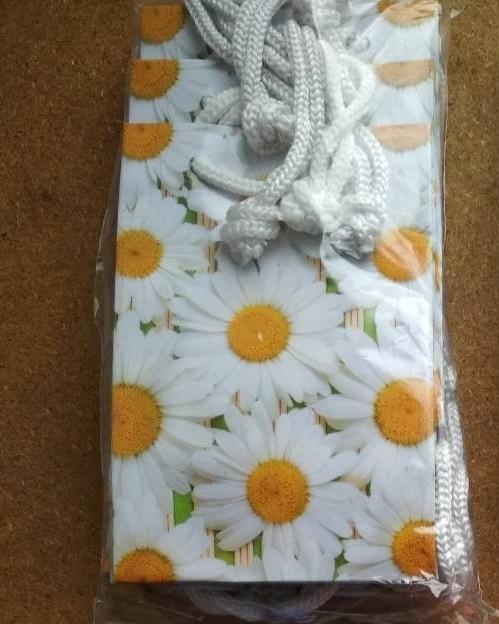 Подарочный бумажный пакет МИНИ 8*12*3.5 см Ромашка