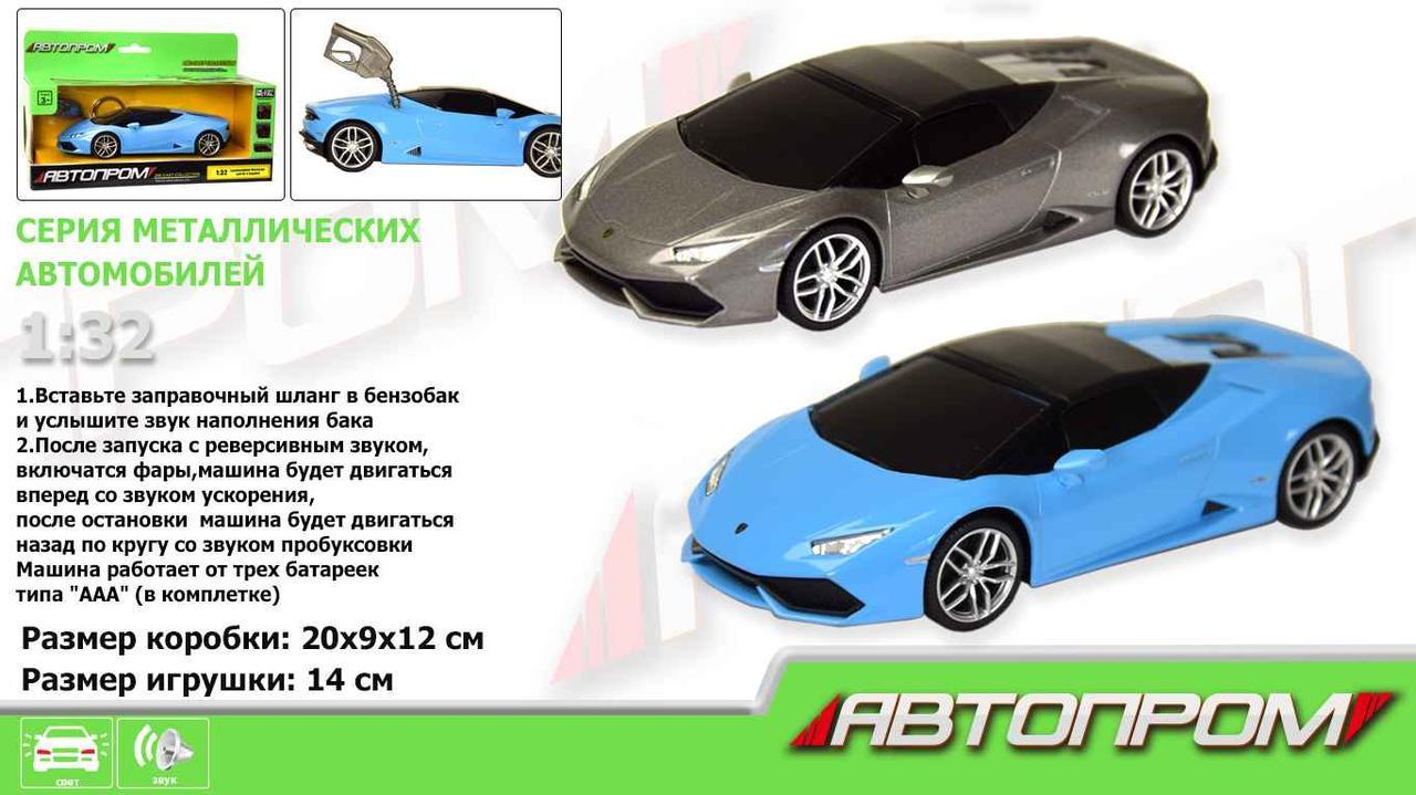 """Машина метал-пластик 7602 (48шт/2)""""АВТОПРОМ"""" 1:32 Lamborghini Huracan LP610-4 Spyder,све,звук,кор"""