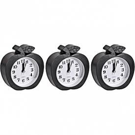 Настольные часы - будильник «Яблоко черное» 10×11×4 см              НА-666