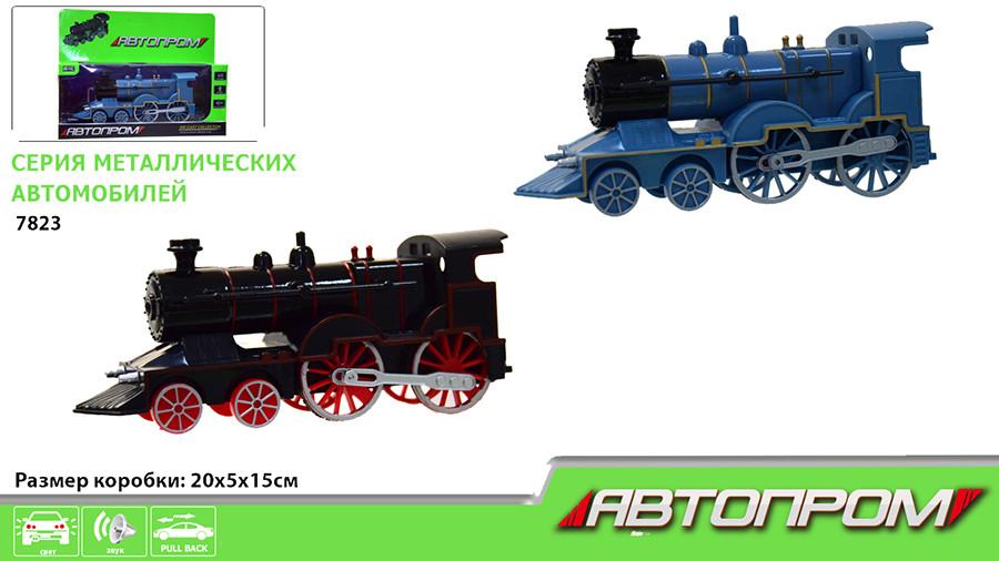 """Поезд металл 7823 (72шт/2) 4 цвета,""""АВТОПРОМ"""" свет,звук,в коробке"""
