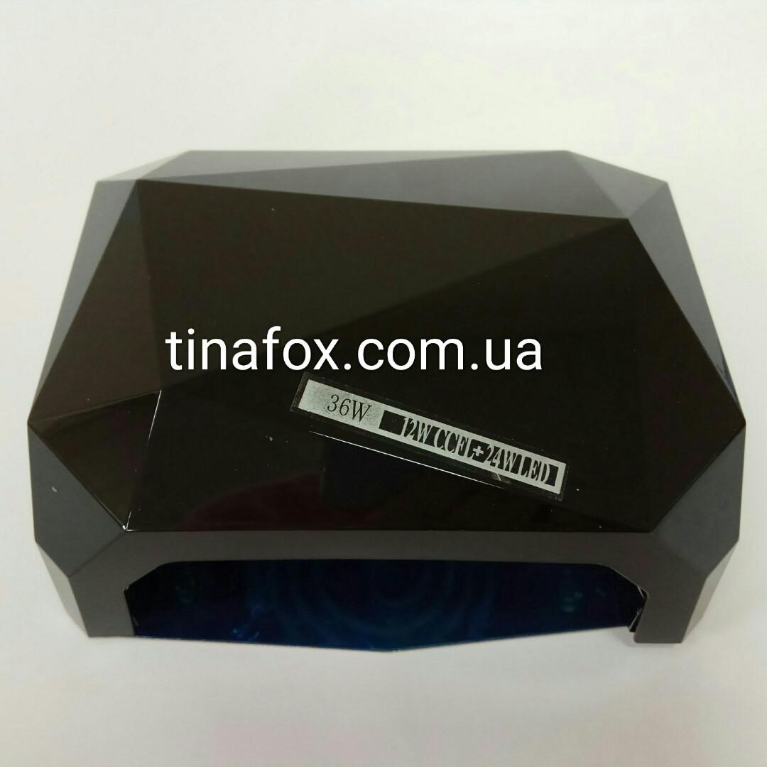 Гибридная Уф/лед Лампа для ногтей, 36W, 10,30,60сек,черная