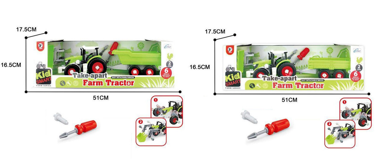 Конструктор KM-281A/B (16шт/2) 2 вида, трактор, в кор. 51*16,5*17,5см