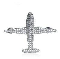 Брошь самолет с камнями ювелирная бижутерия
