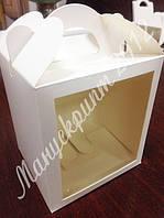 Коробка для кулича, пряничного домика, подарка, чашки 11,5х12х14 см. с одним окном