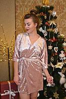 Велюровый качественный Женский халат однотонный