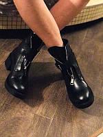 Кожаные ботинки женские зимние осенние черные Uk0552