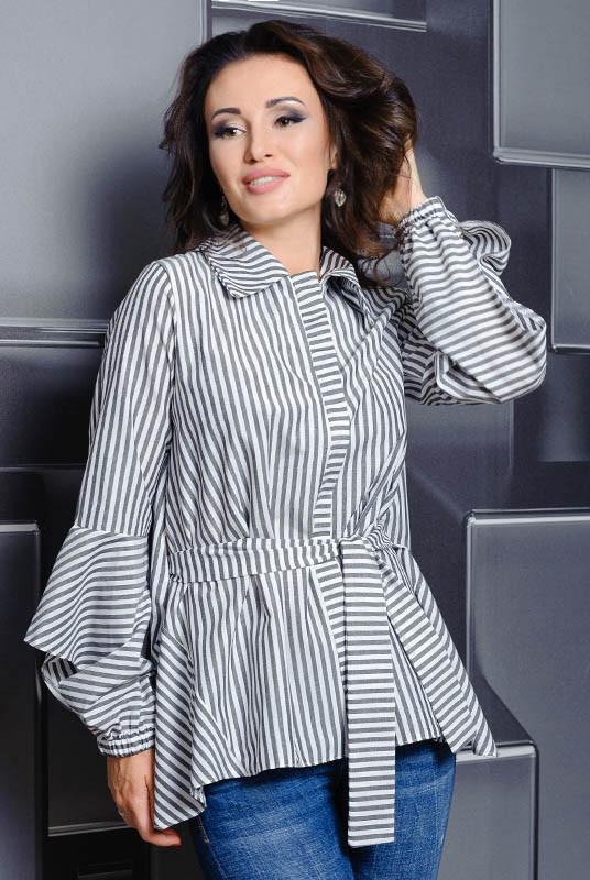 Батальная рубашка Скай, в черно-белую полоску