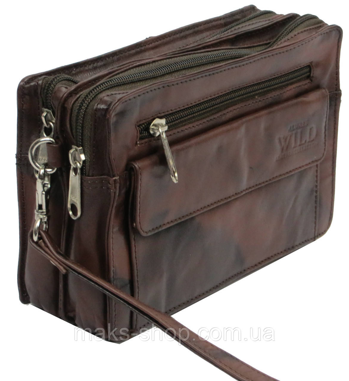 1fd15f1cd7a0 Мужская сумка-барсетка кожаная Always Wild 903-TT коричневый - Maks Shop-  надежный