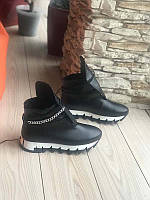 Стильные женские ботинки зимние демисезонные кожа черные Uk0553