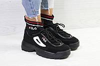 Кроссовки женские Fila с носком черные
